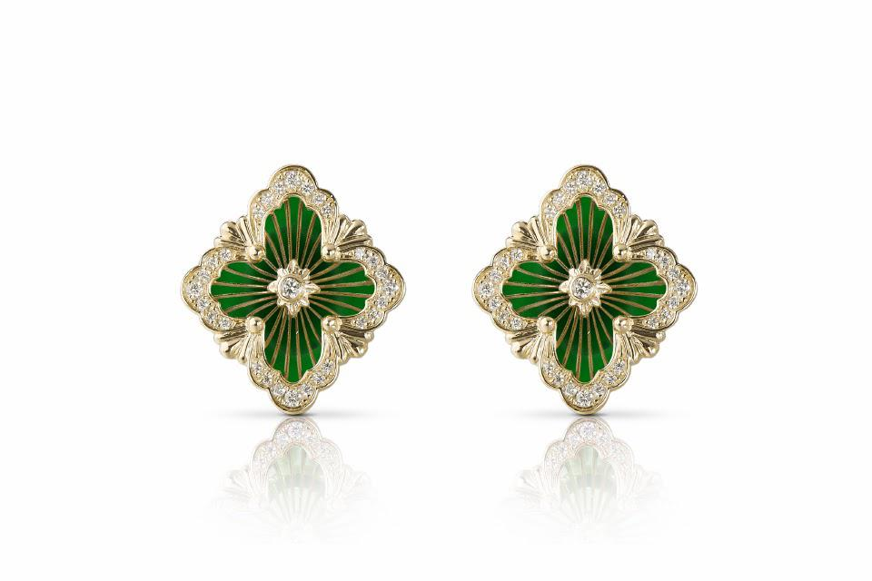 Opera Tulle small button earrings in yellow gold and green enamel $7,100