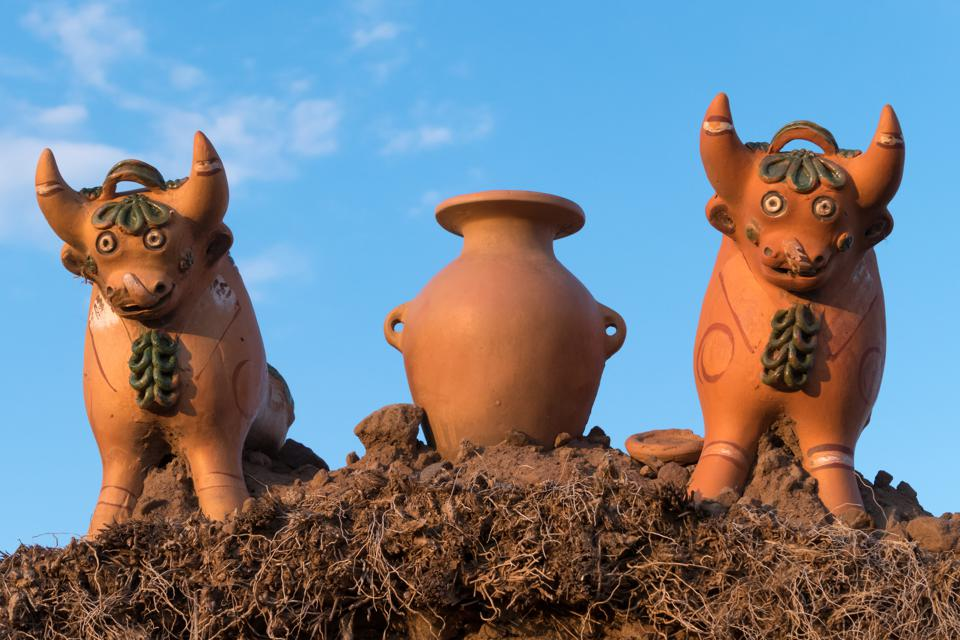 Close-up: Decorations on the roof of a farm near Puno, Peru