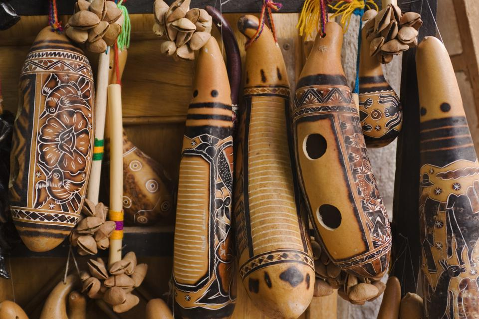 Peruvian Indigenous Musical Instruments, Carved and Painted South American Souvenirs