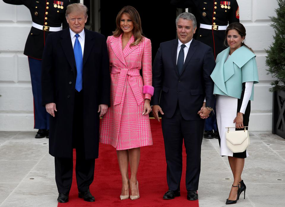 President Trump And First Lady Melania Welcome Colombian President Ivan Duque Marquez And First Lady Maria Juliana Ruiz Sandoval