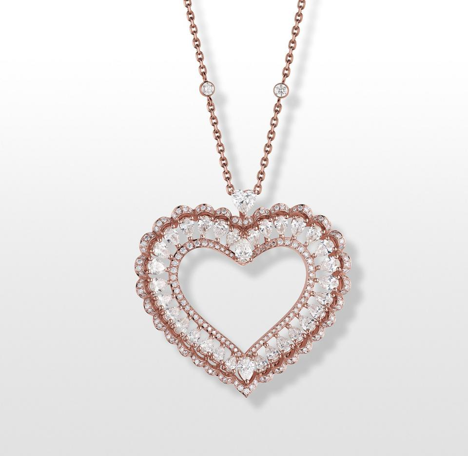 "The Chopard ""Cœur"" pendant in ethical 18k pink gold set with  diamonds"