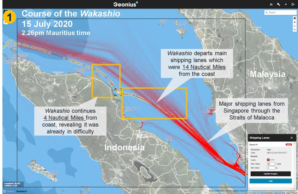 The Wakashio (see in yellow) deviates from the main shipping lanes (marked in red) within a day of refueling, and stayed close to the Indonesia coast, implying there was something already wrong on board