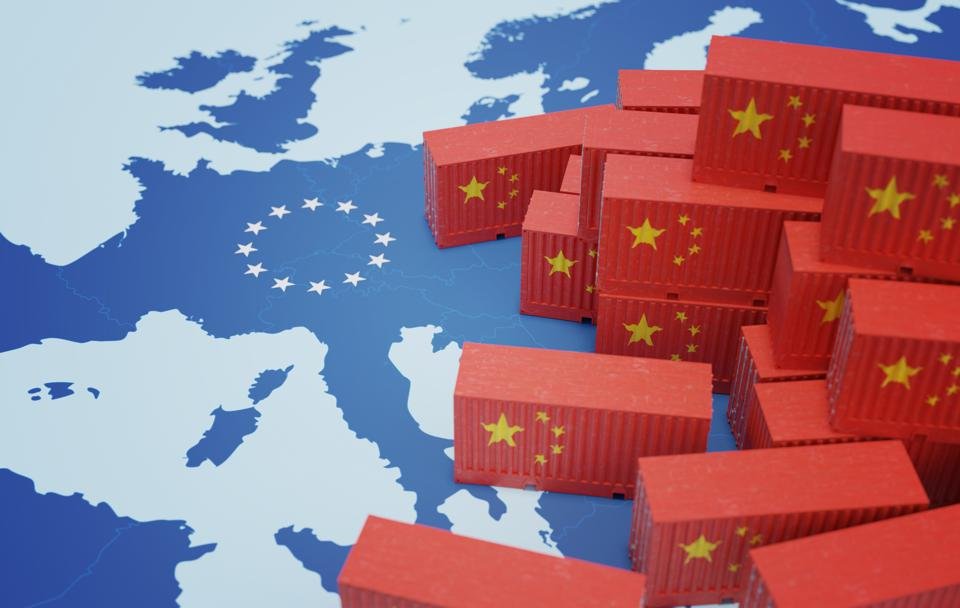 Chinese cargo containers on map of Europe. Import of chenese goods concept. 3D rendered illustration.