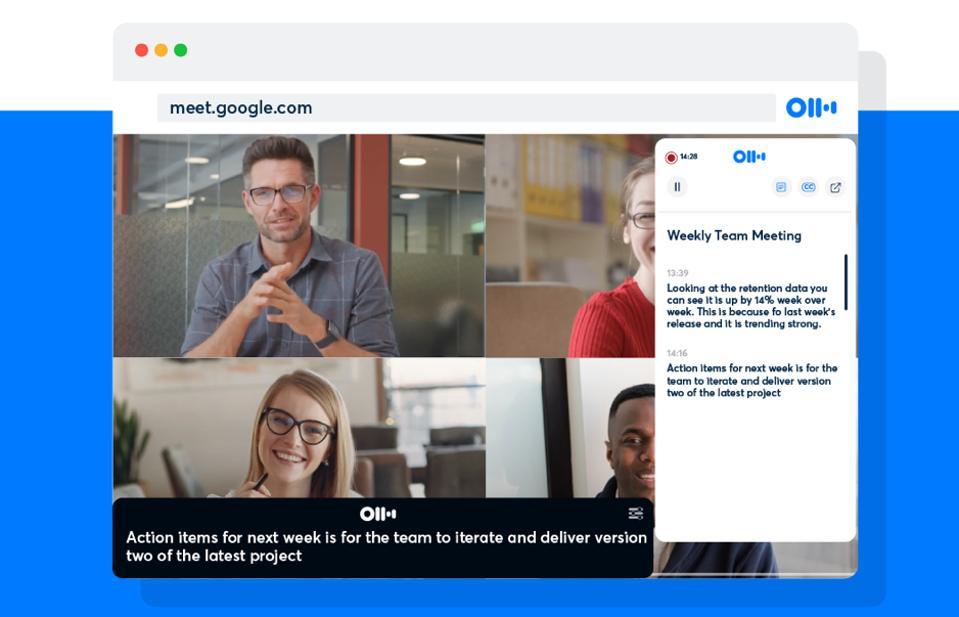 Otter.ai providing live transcription of Google Meet