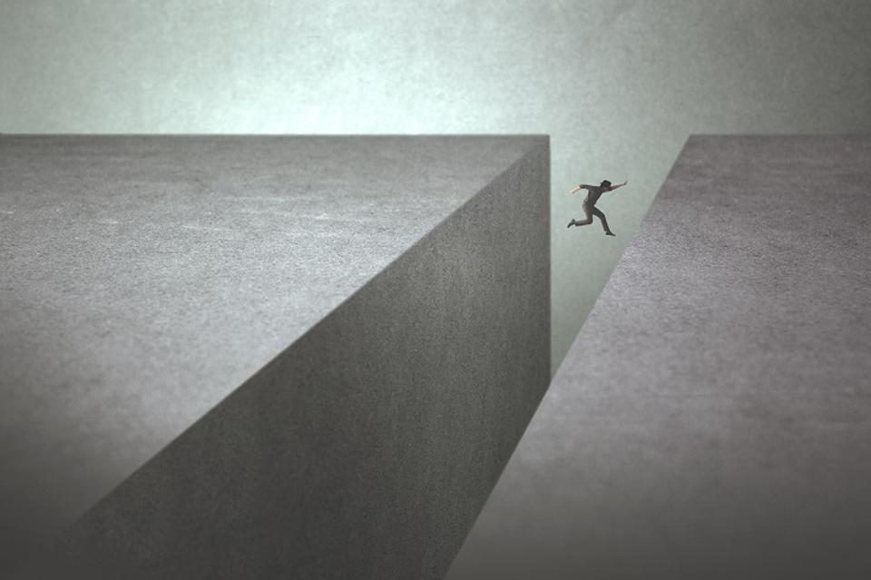 Man overcoming an obstacle