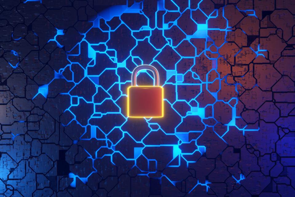 Three dimensional render of padlock and circuit board symbolizing data security