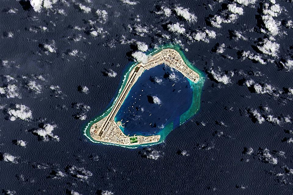 A satellite view of the Subi Reef