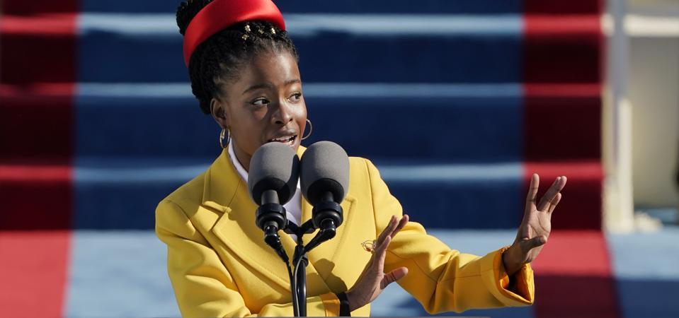 US Youth Poet Laureate Amanda Gorman speaks at President Biden's inauguration.