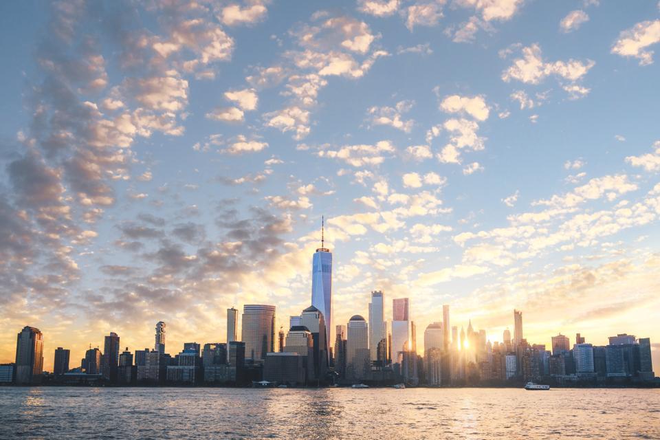 Lower Manhattan skyline at sunrise, New York City