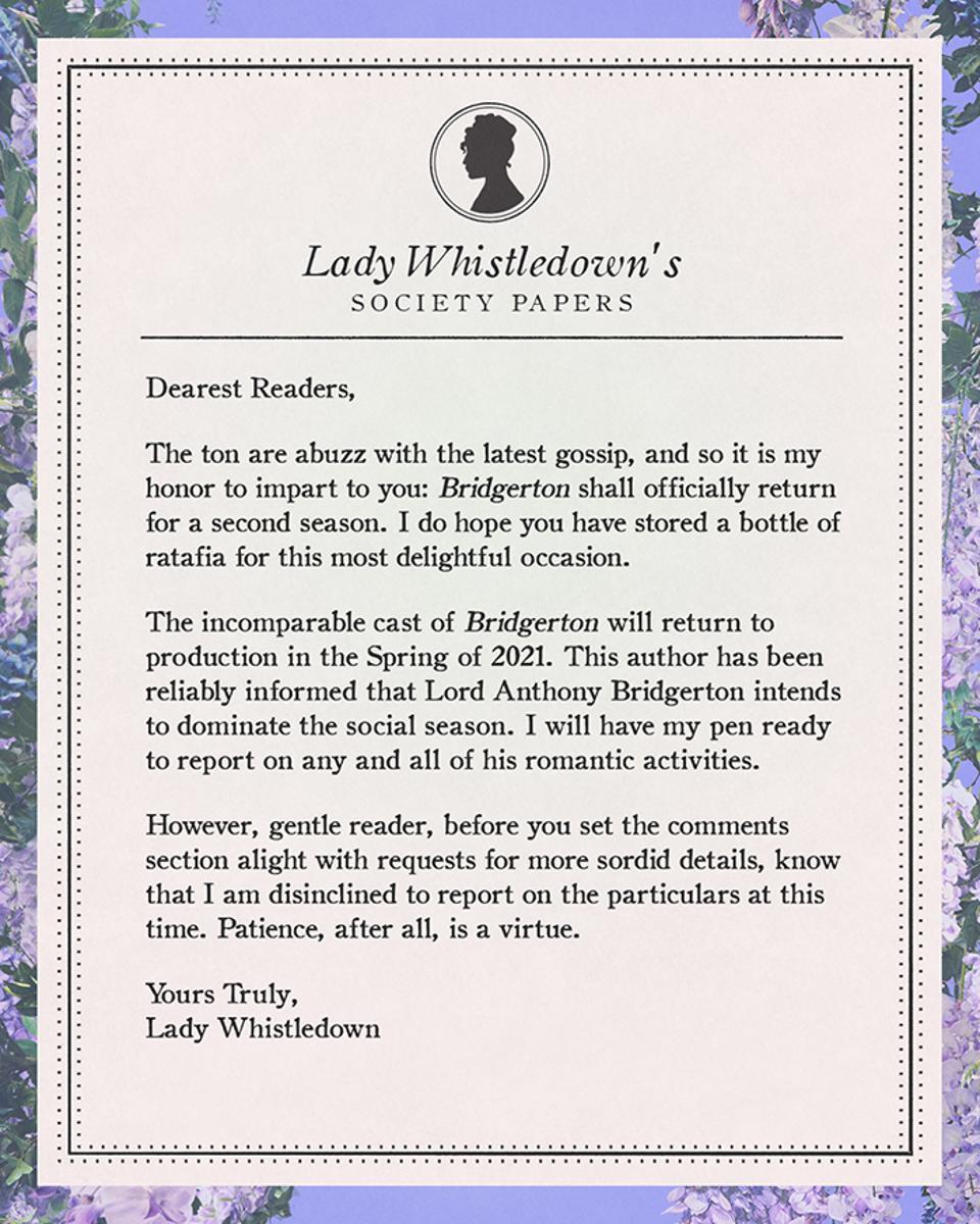 ″Bridgerton″ Season 2 announcement.