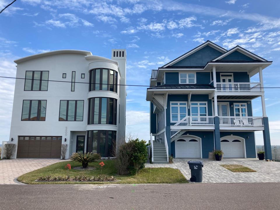 Recently built luxury beach front homes at American Beach.
