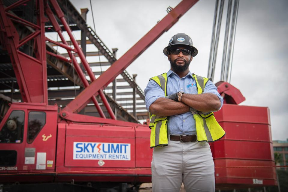 Sam Barrington at a construction site on the campus of the University of South Florida.