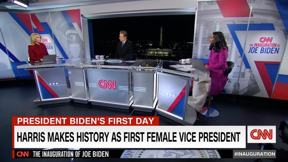 Anchors on the CNN Inauguration set in Washington