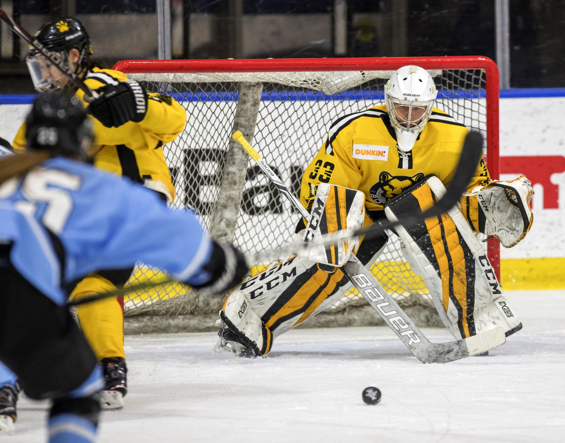Boston Pride goalie Katie Burt during a 2019 NWHL playoff game against the Buffalo Beauts.