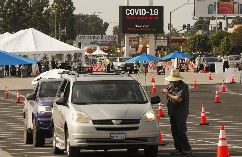 The Forum in Inglewood, CA is one of five mass-vaccination sites in Los Angeles County.