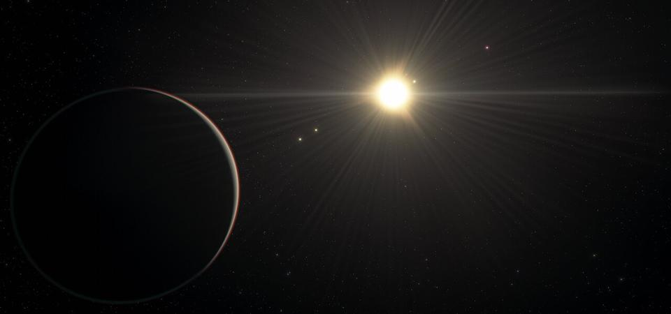 This artist's impression shows the view from the planet in the TOI-178 system found orbiting furthest from the star.
