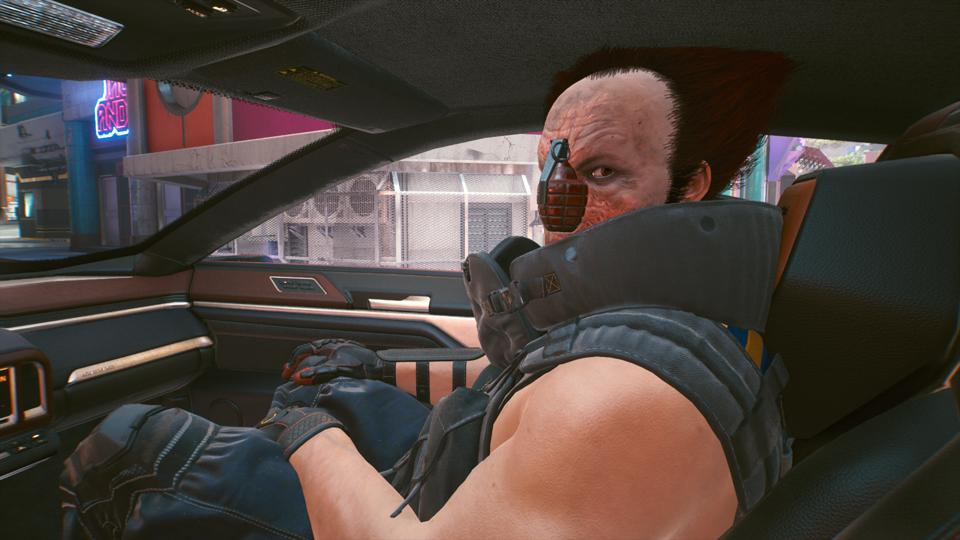 Ozob Bozo in Cyberpunk 2077, with a grenade for a nose.