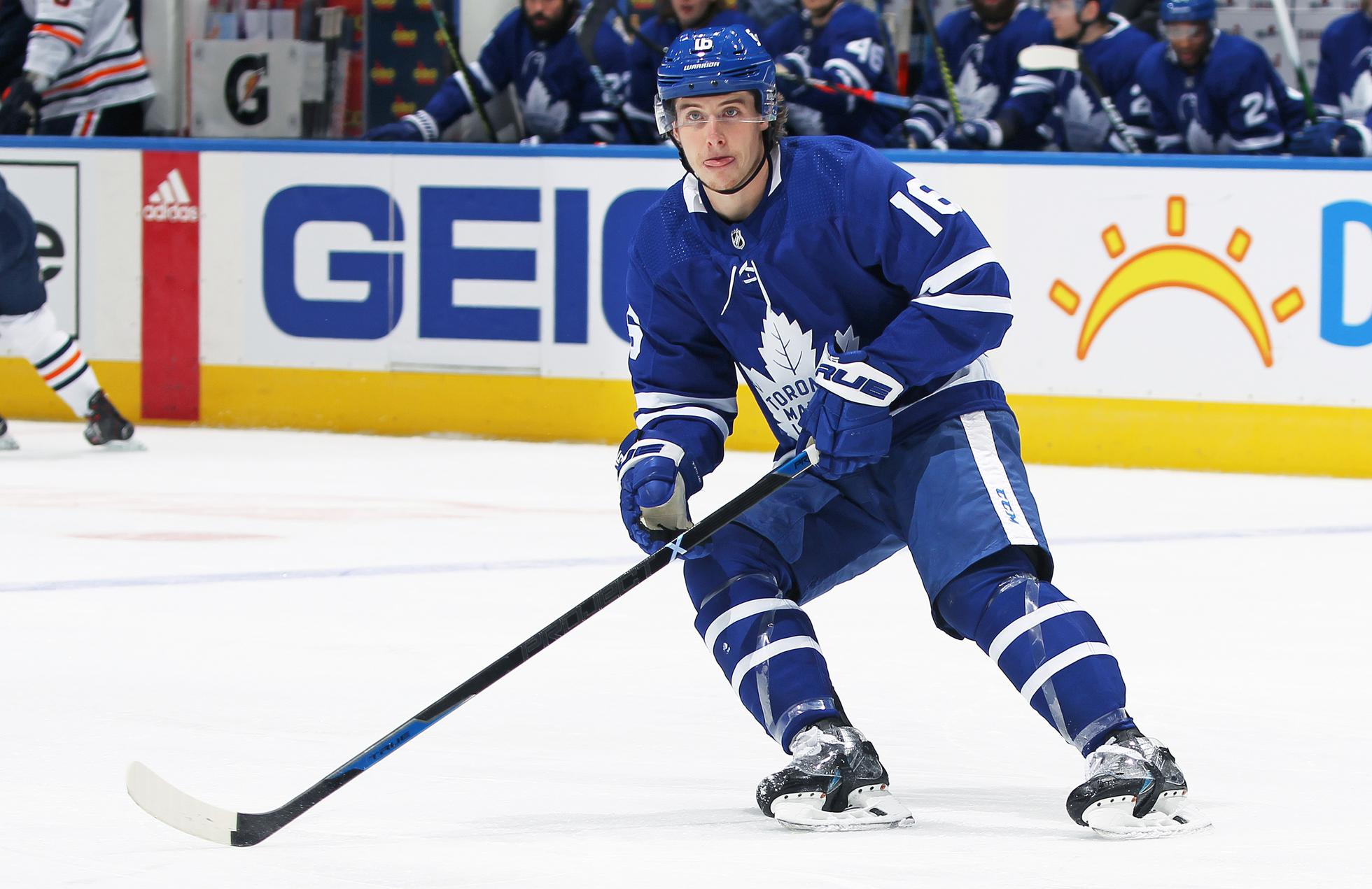 Mitchell Marner #16 of the Toronto Maple Leafs skates against the Edmonton Oilers during an NHL game at Scotiabank Arena on January 20, 2021 in Toronto, Ontario, Canada. The Oilers defeated the Maple Leafs 3-1.
