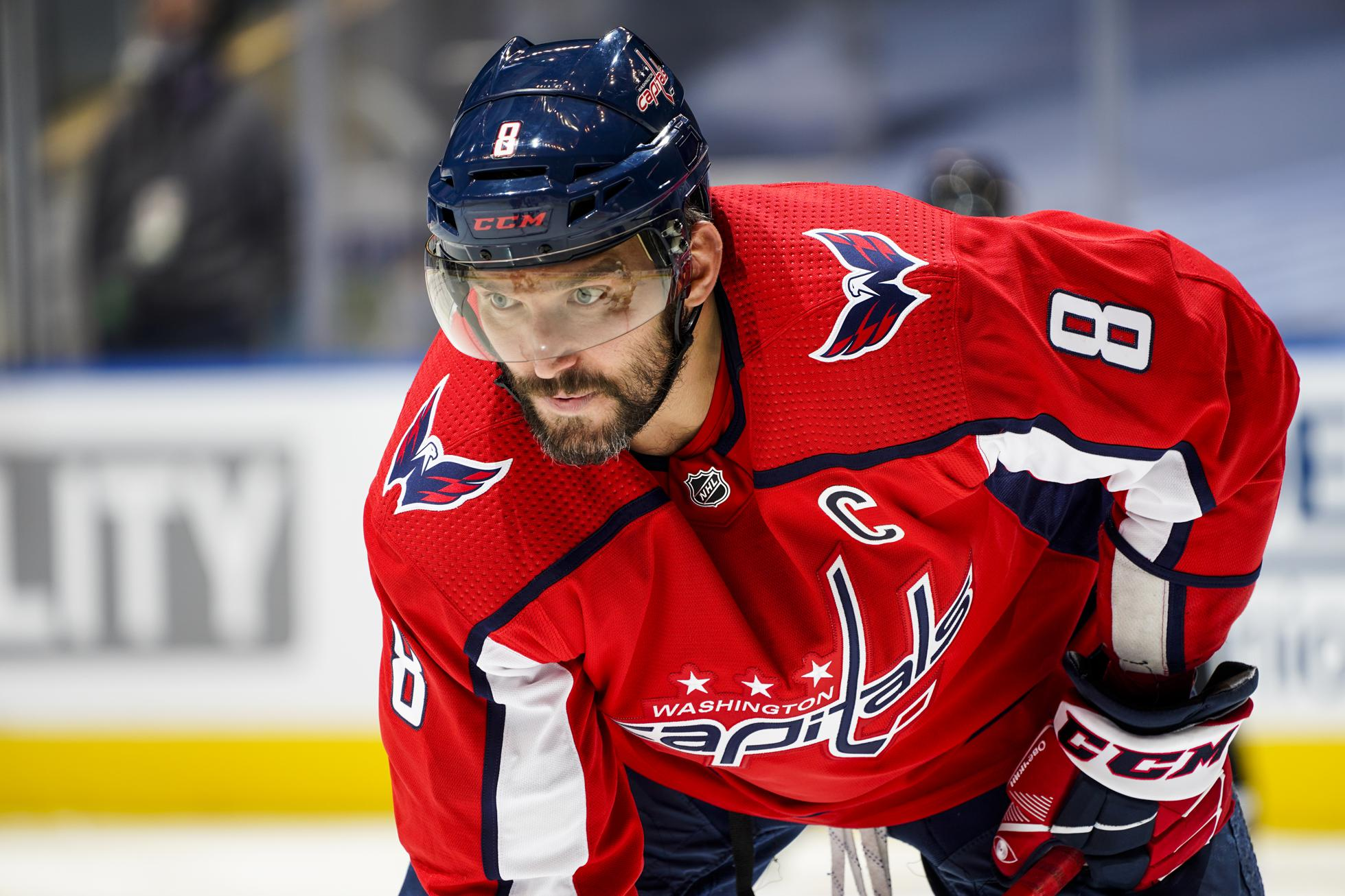 Alex Ovechkin #8 of the Washington Capitals gets ready for a face-off against the Boston Bruins during the third period in an Eastern Conference Round Robin game during the 2020 NHL Stanley Cup Playoff at Scotiabank Arena on August 09, 2020 in Toronto, Ontario.