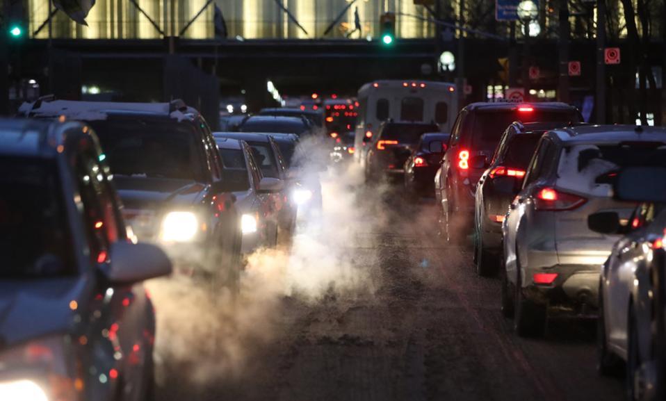 SUVs and sedans in traffic