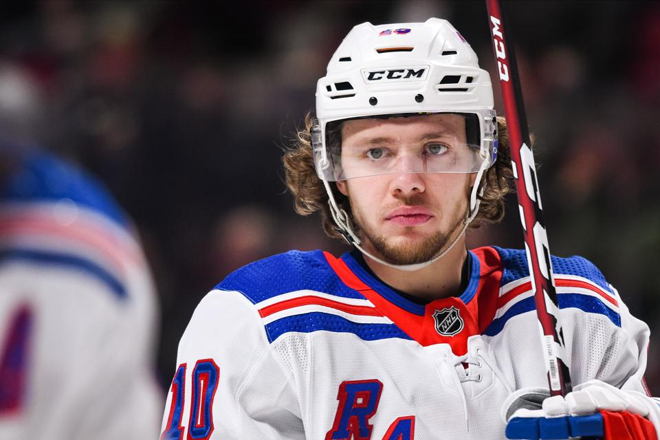 Look on New York Rangers left wing Artemi Panarin (10) during the New York Rangers versus the Montreal Canadiens game on February 27, 2020, at Bell Centre in Montreal, QC