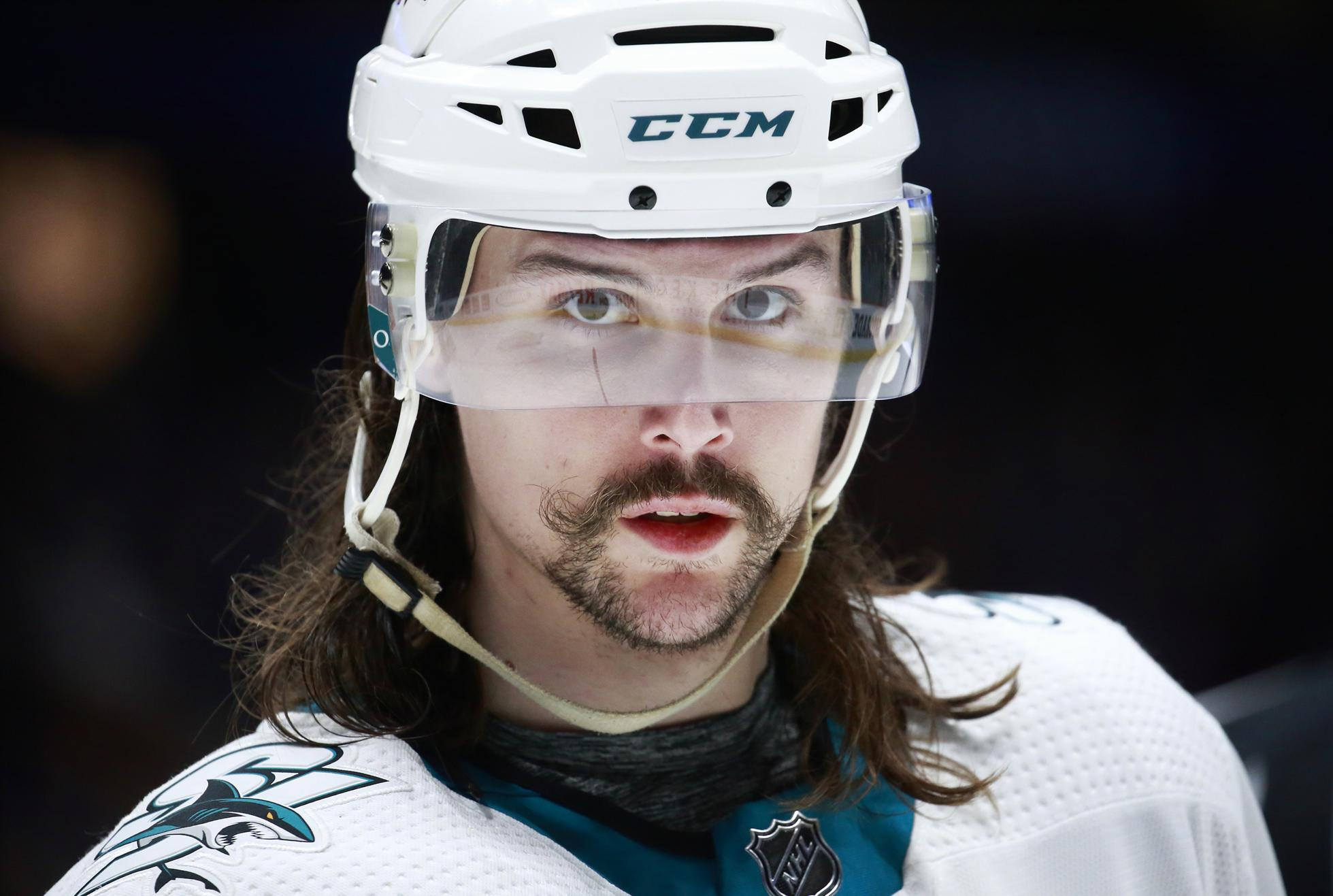 Erik Karlsson #65 of the San Jose Sharks skates up ice during their NHL game against the Vancouver Canucks at Rogers Arena January 18, 2020 in Vancouver, British Columbia, Canada.