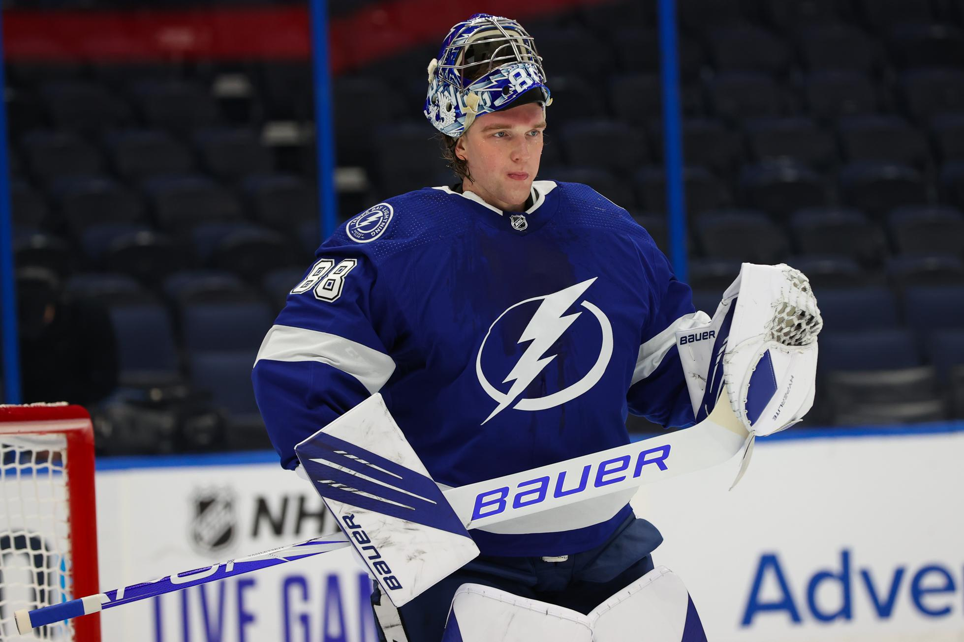 Andrei Vasilevskiy #88 of the Tampa Bay Lightning skates against the Chicago Blackhawks during the second period at Amalie Arena on January 15, 2021 in Tampa, Florida.