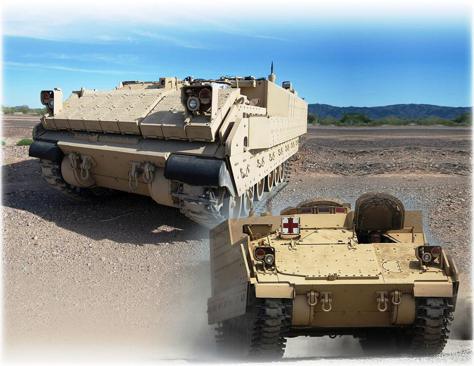 Photograph of the Armored Multi-Purpose Vehicle in the desert.