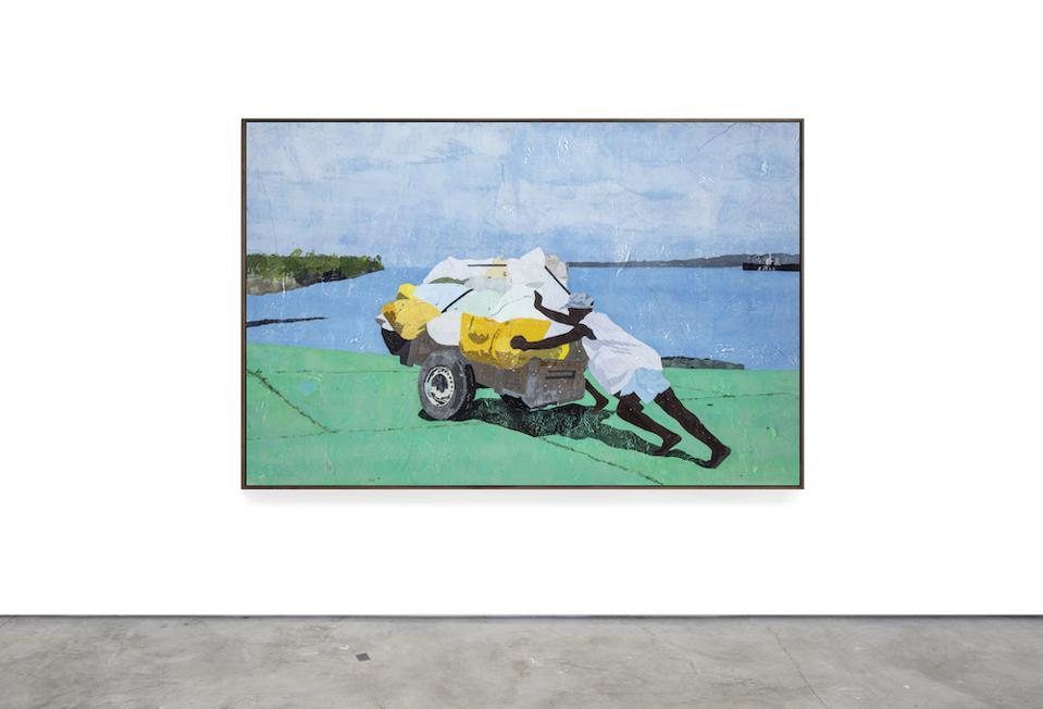 a painting of a man pushing a heavy load