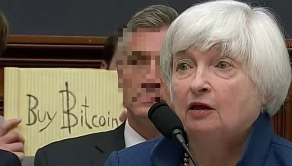 Photobomd of Yellen testimony to the Senate