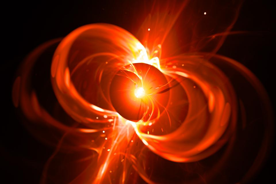 Fiery glowing spinning neutron star