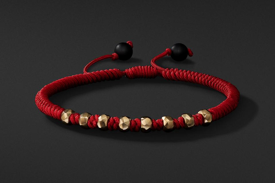 David Yurman DY Fortune Woven Bracelet in Red with Black Onyx in 18k Gold