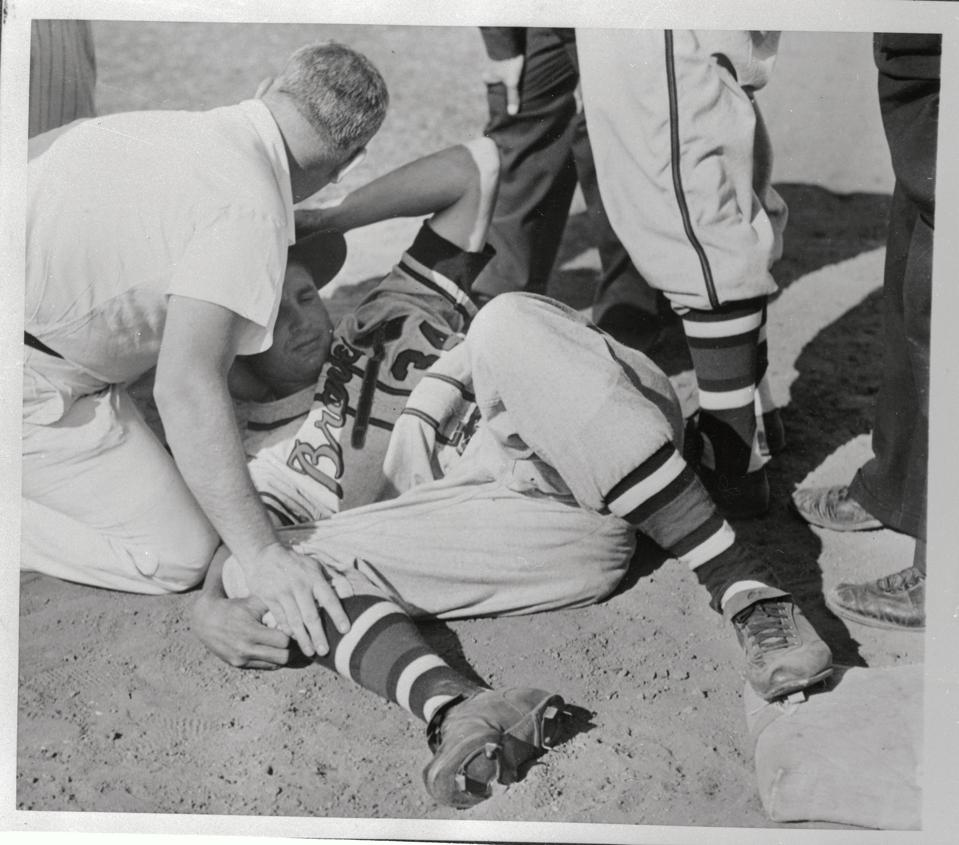 Bobby Thomson Lying on Ground After His Injury