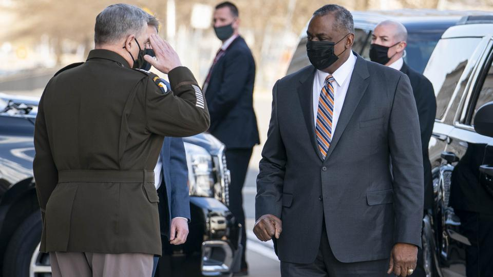 Incoming Secretary Of Defense Lloyd Austin III Arrives At Pentagon For His First Day In Role