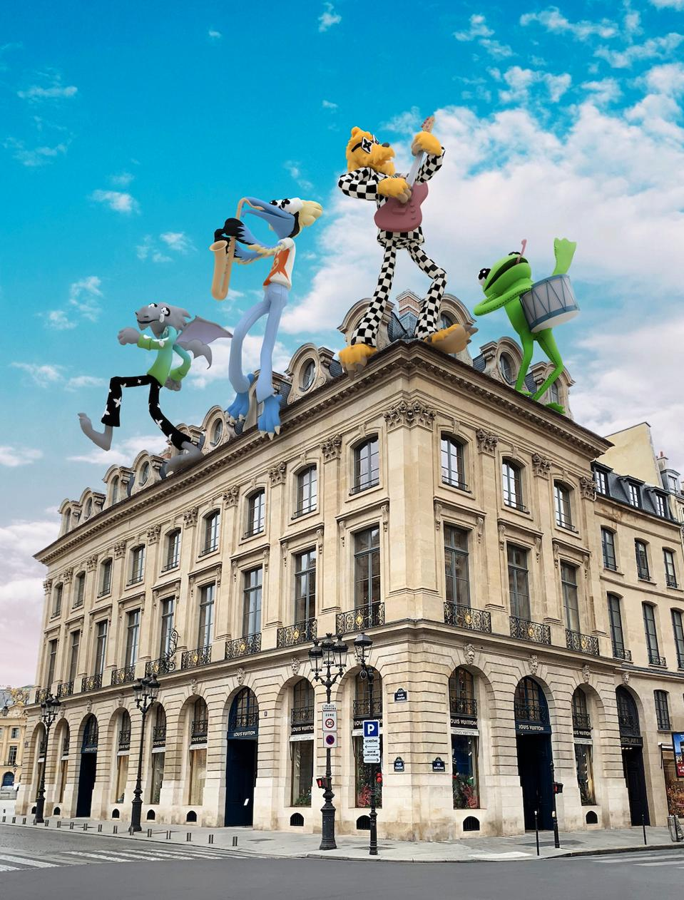 Cartoon characters imposed on facade of the Louis Vuitton Place Vendome Store.