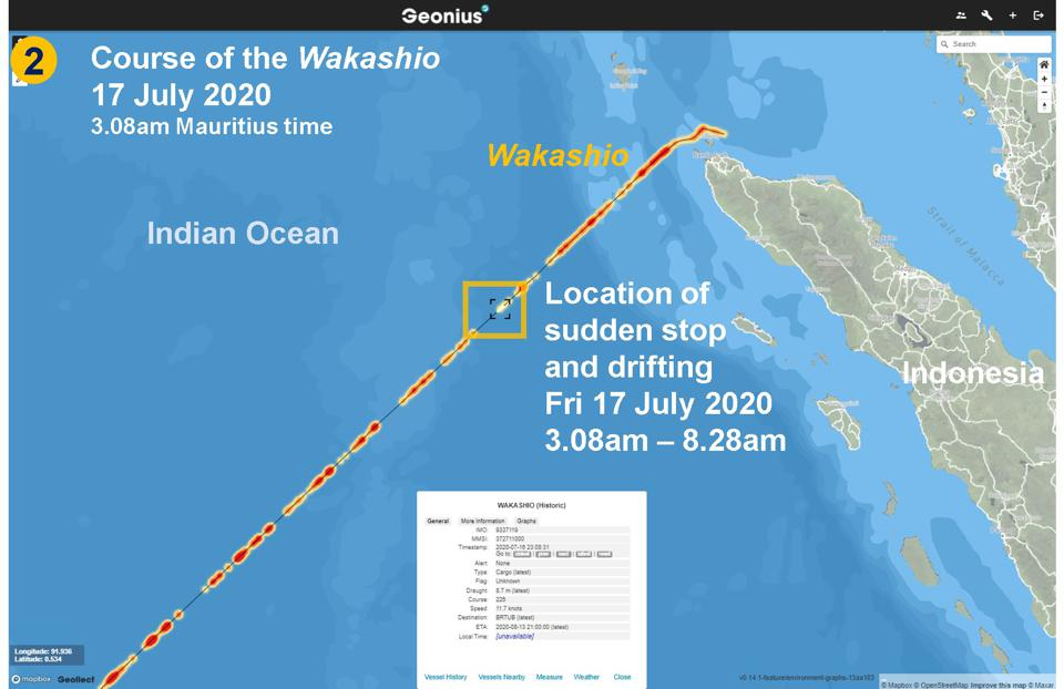 Course of the Wakashio on 17 July 2020, including location of sudden stop