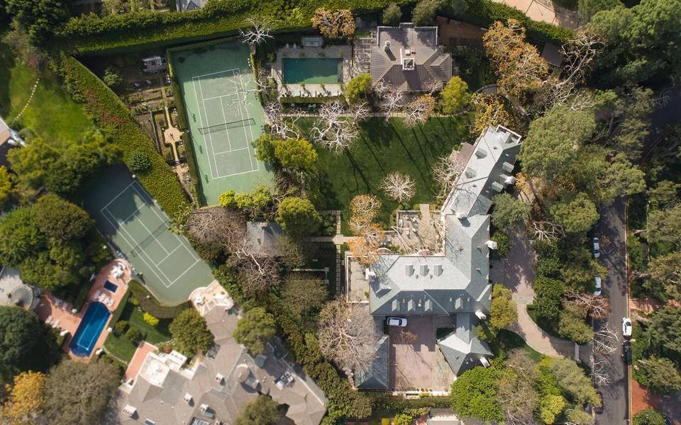 An aerial view of an estate in Holmby Hills.