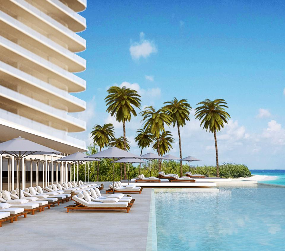 The exterior of SLS Cancun hotel during the day.