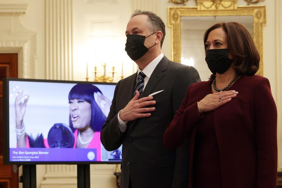 President Joe Biden, First Lady Dr. Jill Biden, Vice President Kamala Harris And Second Gentleman Doug Emhoff Watch Virtual Presidential Inaugural Prayer Service