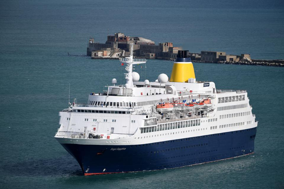 The cruise ship Saga Sapphire sails into Portland Port on March 14, 2020 in the U.K.