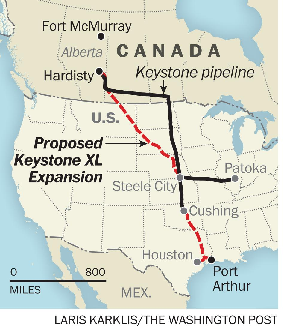 Proposed Keystone XL Extension map...