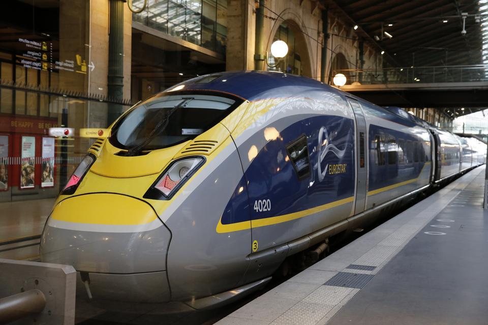 An Eurostar train at Gare du Nord train station in Paris, France