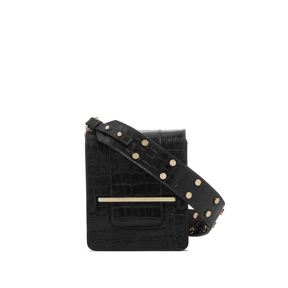 Paloma Box Bag - Black Crocodile