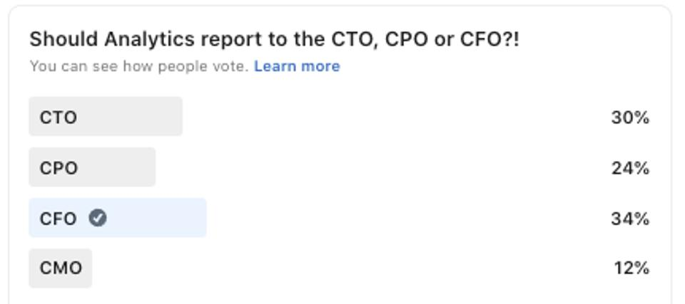 ″Should Analytics report to the CTO, CPO or CFO?!″ Great question by Soru Kumar. What do you think?! (January 2021)