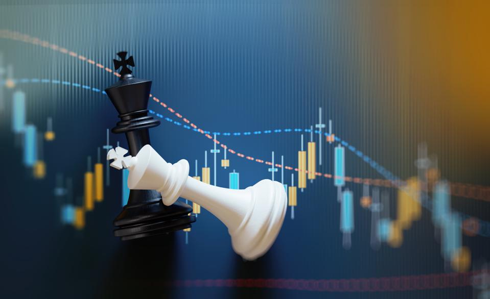 King Chess Pieces on Financial and Technical Data Analysis Graph
