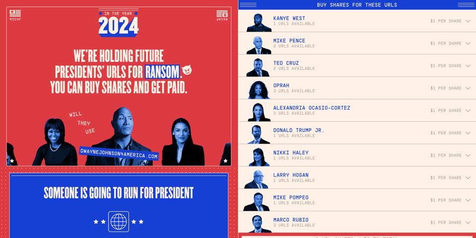 URLs up for ransom for the 2024 Presidential campaign