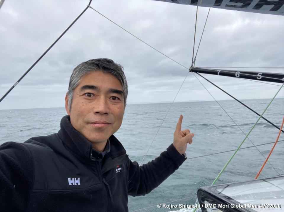Skipper Kojiro Shiraishi on boat DMG MORI Global One