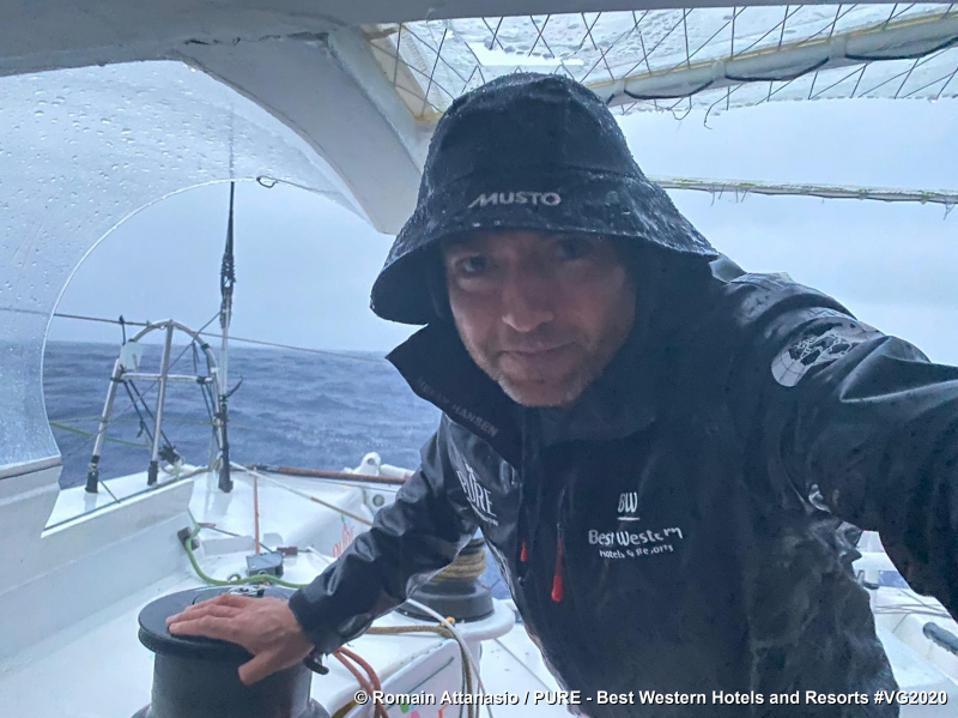 Skipper Romain Attanasio in stormy waves