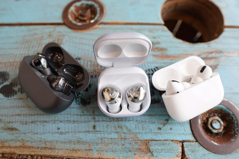 The Galaxy Buds Pro, AirPods Pro, and FreeBuds Pro