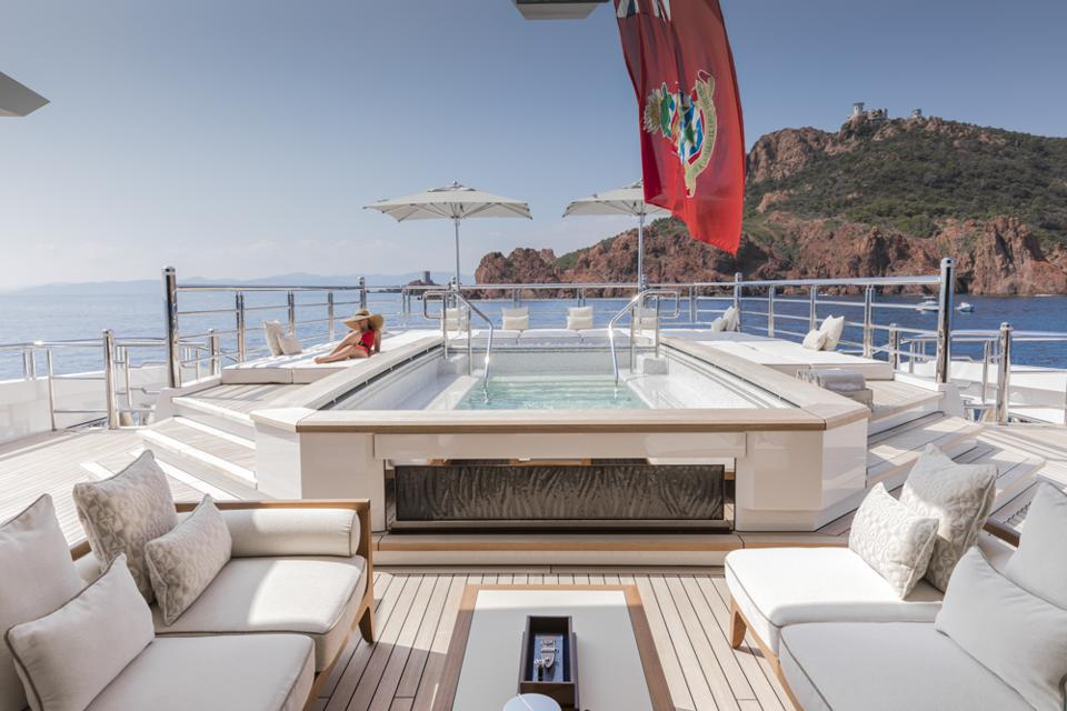 The pool aboard the 295-foot long Dreamboat owned by home Depot billionaire Arthur Blank